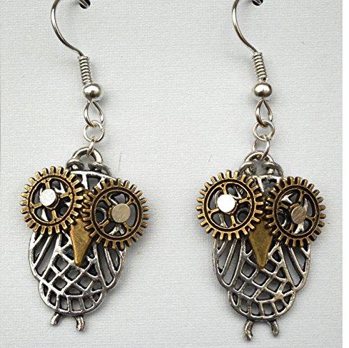 Steampunk Owls w/ Gear & Watch Hand Earrings, Bird Jewelry, Harry Potter Sci Fi & Fantasy Fan Gift (Watch Fan Gear)