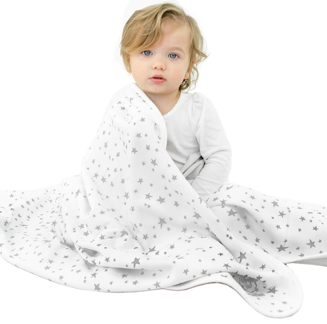 "Baby Blanket from Woolino, 4 Season Stroller Merino Wool Blanket, Silky Soft & Machine Washable, 40"" x 31.5"", Stars 40"" x 31.5"" SBL001"