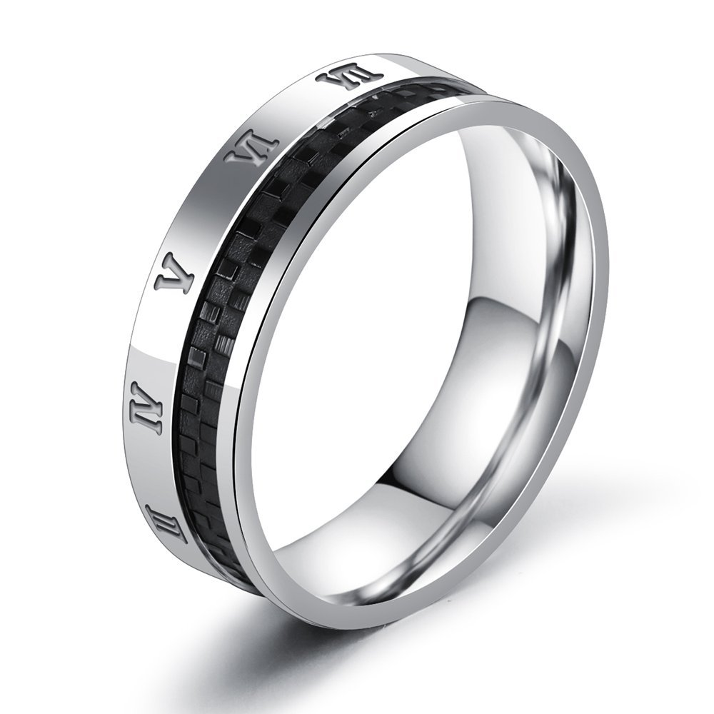 Onefeart Stainless Steel Ring For Men Boy Rock Style Roman Numeral Design Silver Size 7 Fashion Jewelry
