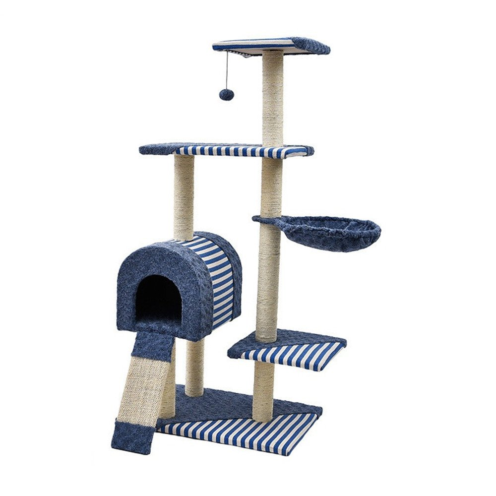 bluee Cat Tree Stable Structure Climbing Frame Nest Toy Cat Scratch Board Cat Jumping Table Pet Supplies (color   bluee)