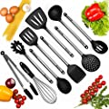 Kitchen Utensils, Best 10 pc Set of Nonstick Cooking Utensils, Silicone and Stainless Steel, Tong, Spoon, Spatula Tools, Pasta Server, Ladle, Strainer, Whisk, FDA Approved