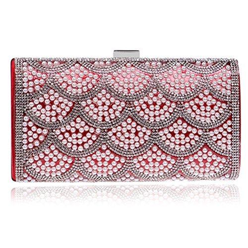bag handbag bag pearl gorgeous Women's evening Red evening fashion ladies luxury SHISHANG bag ZYXCC z4Ux5Ywqnx
