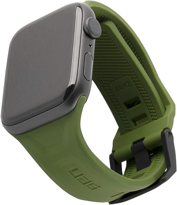 Urban Armor Gear Scout Armband Für Apple Watch 42mm 44mm Watch Se Series 6 Series 5 Series 4 Series 3 Series 2 Series 1 Weiches Silikon Ersatzband Edelstahl Verschluss Oliv Grün Elektronik