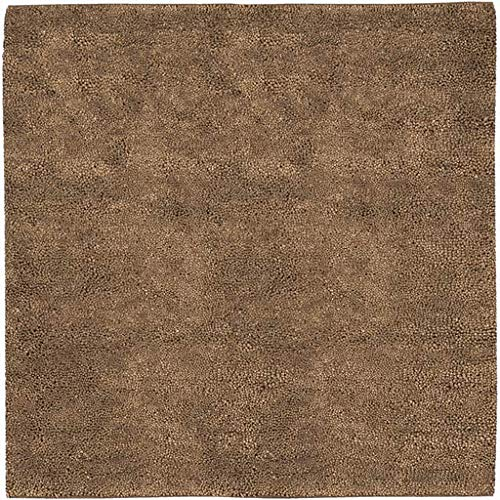 (Nordland Shag Plush Solid 8' Square Square Shag 100% Wool - Felted Dark Brown Area Rug )
