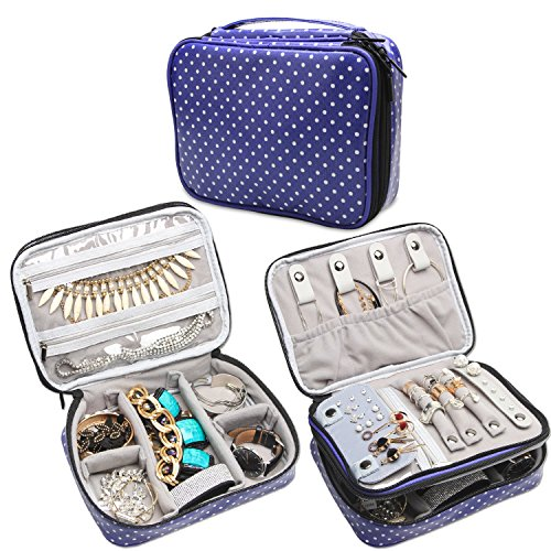 Teamoy Travel Jewelry Organizer Case, Storage Bag Holder for Necklace, Earrings, Rings, Watch and More, High Capacity and Compact,Purple Dots