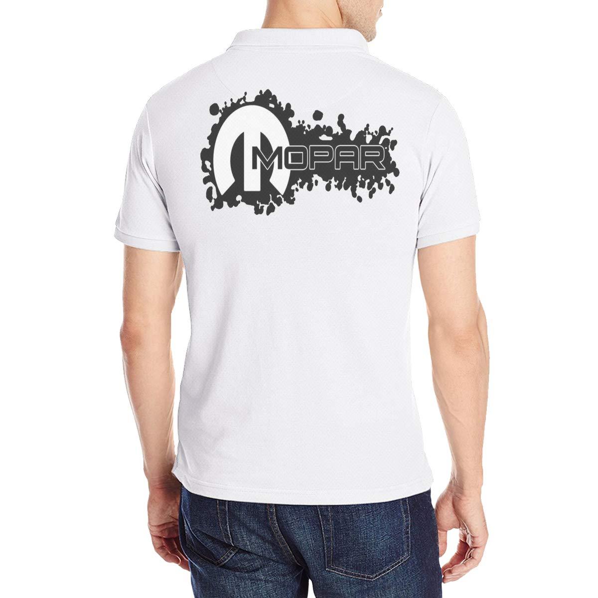 Mopar Logo Mens Short Sleeve Polo Shirt Tee Printed On The Back White