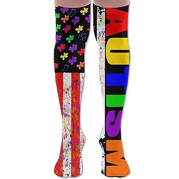 f25623264755 Sport Breathable Crew Knee Socks Retro Autism Awareness USA Puzzle Flag  Unisex Over The Women Men
