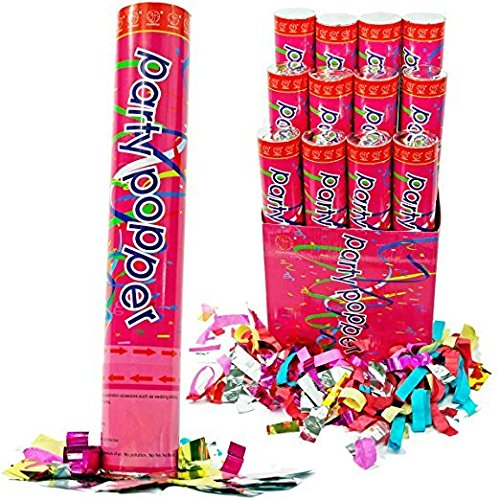 12 Inch Confetti Cannons Air Compressed Party Poppers (1/pkg) Pkg/72 by Confetti Cannons