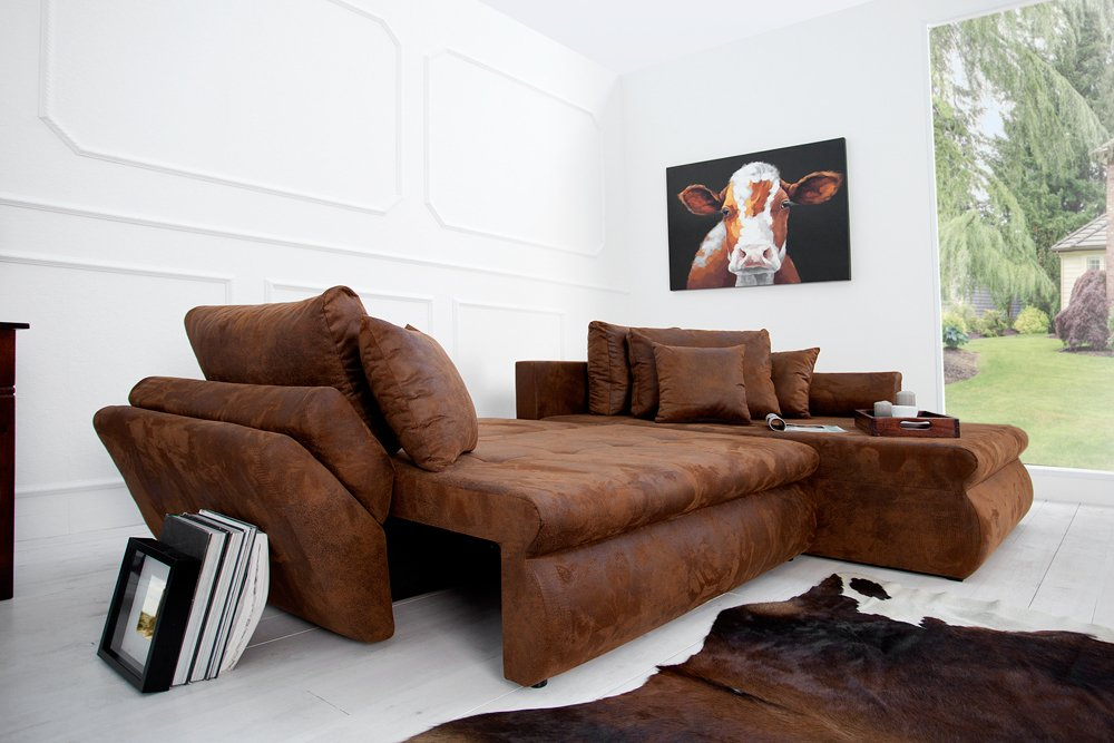 Eckcouch mit schlaffunktion braun  Design Ecksofa RODEO coffee used look mit Schlaffunktion Sofa ...