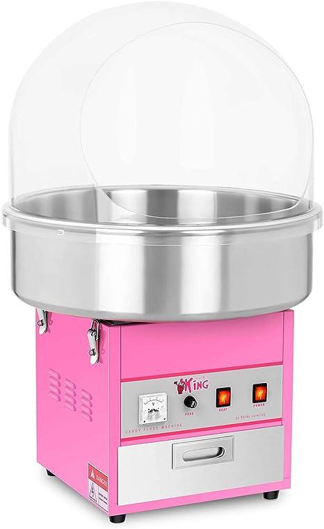 Royal Catering Máquina De Algodón De Azúcar RCZK-1200E (1200 W, Ø 52 cm, 1 unidad por minuto, Control separado del termostato y la rotación, Incl. cúpula antisalpicadura) Rosa: Amazon.es: Hogar