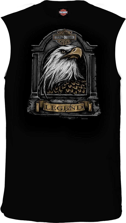 HARLEY-DAVIDSON Military Stone Feathers Mens Black Sleeveless Eagle Graphic T-Shirt USAG Stuttgart