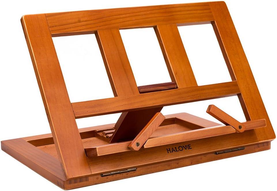 HALOViE Soporte para Libro Atril de Lectura Madera Soporte de Libro Ajustable Plegable para Leer Papeles Documentos Archivos Notación de Piano Tablets Ordenador iPads Iphone 34 * 23.5 * 2.8cm