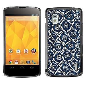 For LG Google NEXUS 4 / Mako / E960 Case , Pattern Wallpaper Art Blue - Diseño Patrón Teléfono Caso Cubierta Case Bumper Duro Protección Case Cover Funda