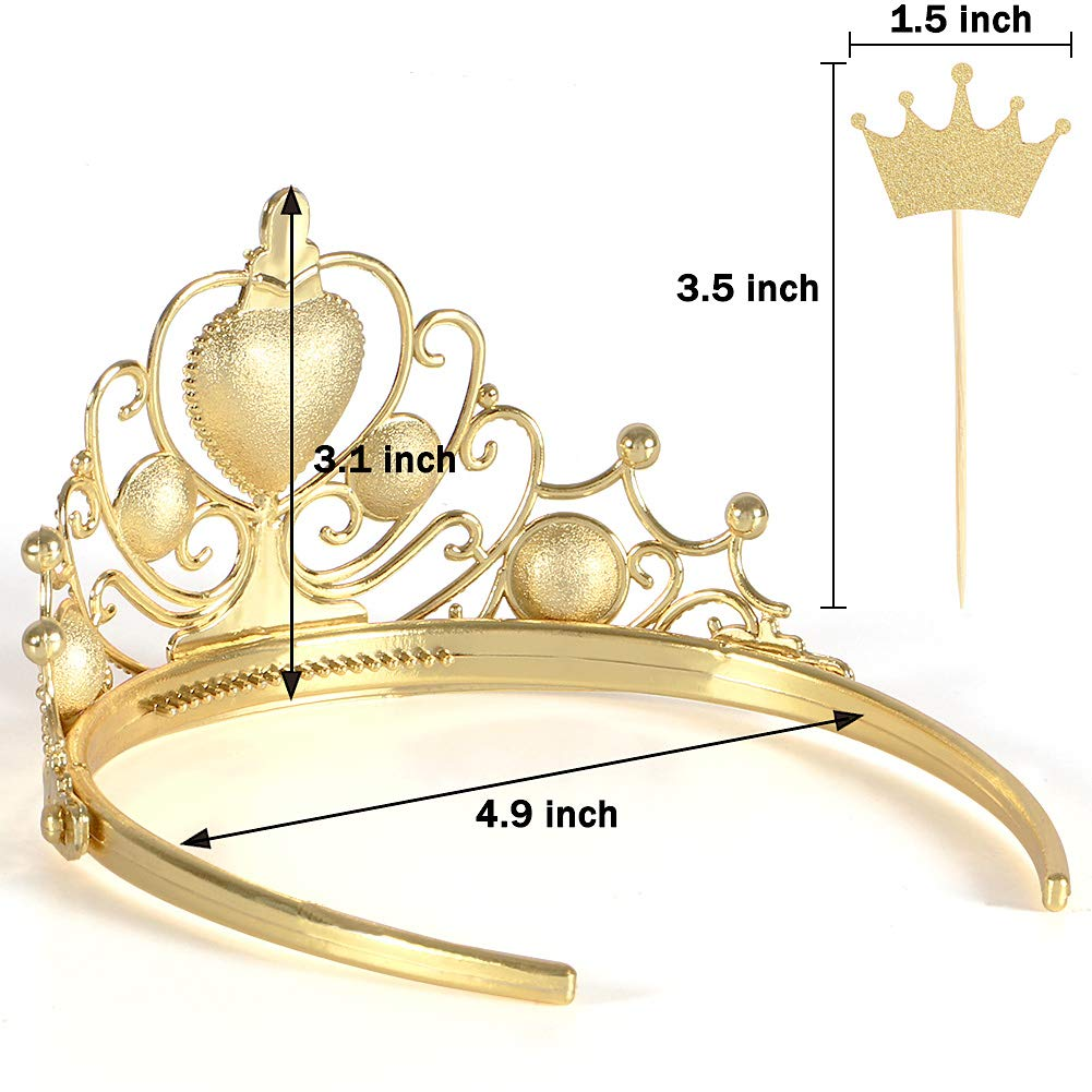 10 Pcs Princess Tiara and Crown with 20 Pcs Glitter Gold Crown Cupcake Toppers Gift Set Party Supplies for Girl's Birthday by Qunan (Image #5)