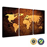 Kreative Arts - Vintage World MAP - Premium Canvas Art Print - Large Abstract Wall Art Deco - Canvas Picture Stretched on Wooden Frame As Modern Gallery Artwork Canvas Set of 3 59''x36''
