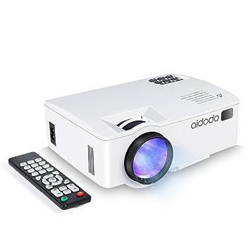 Proyector, TOQIBO LED Mini video Proyector 1800 lúmenes con iPhone Android ordenadores Portátiles Tablets, Proyector Portatil para TV Videojuegos ...