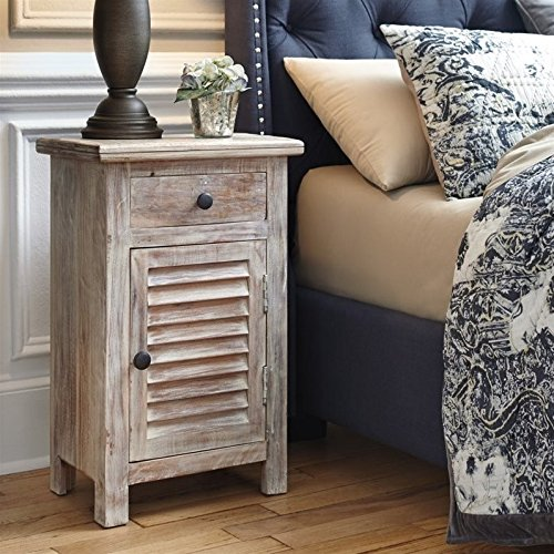 Ashley Charlowe 1 Door Wood Nightstand in White Wash by Ashley Furniture