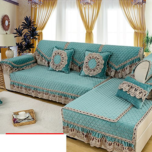 Winter plush European-style sofa cushions Simple fabric modern sofa sets lace arm back scarves-A 110x160cm(43x63inch)