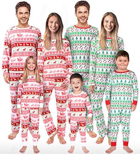 Rnxrbb Christmas Family Matching Pajamas Set Christmas Pjs Kids Warm Xmas Jammies for Boys and Girls Kid 4T(90) (Wife Christmas Jammies)