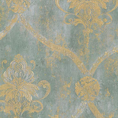 Wallpaper French Faux Aqua Blue Large Damask with Gold by ()