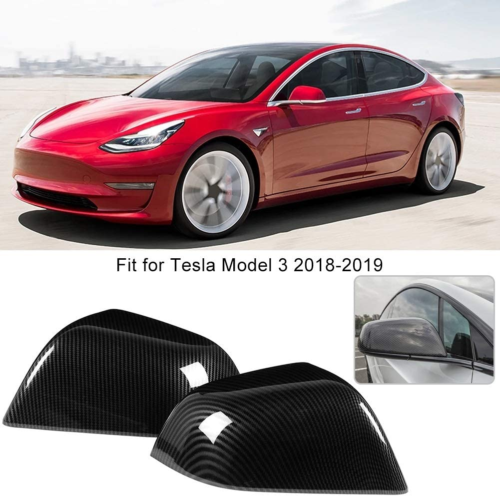 KSTE 2 Pezzi in Fibra di Carbonio Porta a Specchio retrovisore Disposizione della Copertura della Modanatura Fit for Tesla Model 3 2018-2019