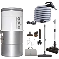 OVO Large and Powerful Central Vacuum System, Hybrid Filtration (With or Without disposable bags) 25L or 6.6 Gal, 630 Air watts with 30 ft Carpet Deluxe Accessory Kit included, 30ft/NA, Sliver
