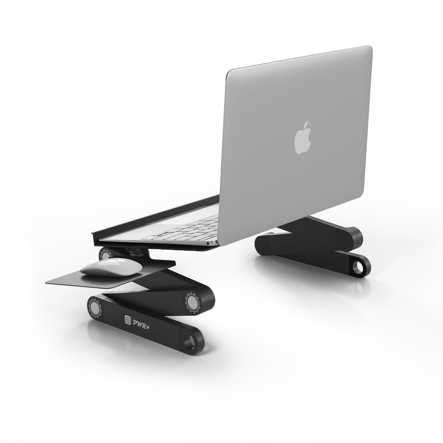 Pwr Laptop Table Stand Adjustable Riser: USA Seller 2Y Warranty Portable with Mouse Pad Fully Ergonomic Mount Ultrabook MacBook Notebook Light Weight Aluminum Black Bed Tray Desk Book Fans Up to 17""