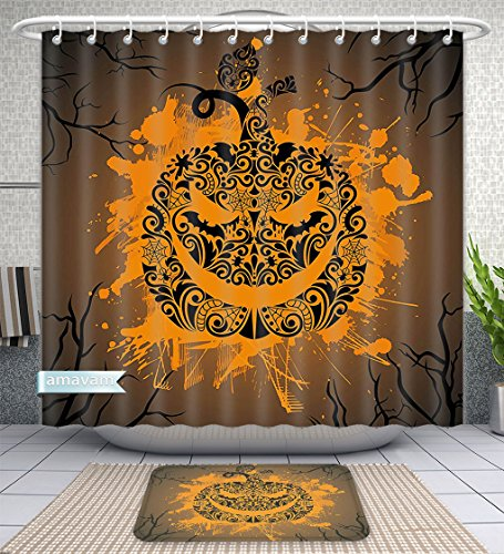 Unique Custom Bathroom 2-Piece Set Halloween Decorations Collection Engraved Pumpkin with Fire Flame Inspired Color Splash Ghost Party Them Shower Curtains and Bath Mats Set, 60