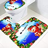 Christmas Series Holiday Santa Carpet Printed Area Rugs Slip-Resistance Toilet Mat Three-Piece Sets Absorbent Indoor Decoration U-Shaped Toilet Mat (Cartoon Deer)