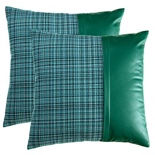 MIYING Modern Grid Faux Leather Pillow Cover, Set of 2 Decorative Throw Pillowcase PU Polyester Linen Cushions Pillow Case for Sofa Couch Bedroom 20x20 Inches, Green