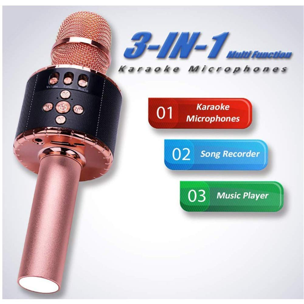 Wireless Karaoke Microphones Speaker 4 in 1 Handheld Portable Bluetooth Karaoke Player Compatible with Android & iOS for Home KTV Party Muisc Playing Singing & Recording Wireless Bluetooth Karaoke Mic by Xiuzhifuxie (Image #3)