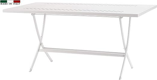 RD Italia - Mesa plegable de 140 x 80 cm, para exterior, de metal, color blanco, para jardín, balcón, patio, terraza: Amazon.es: Hogar