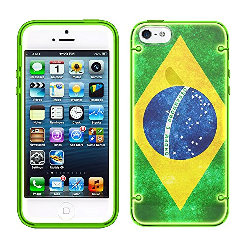 (Apple iPhone SE Retro Brazilian Flag See Through Case with Glow Green)