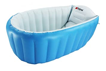 LFY Inflatable Baby Bathtub Plastic Mini Air Swimming Pool Kids Thick Foldable Shower Basin Blue