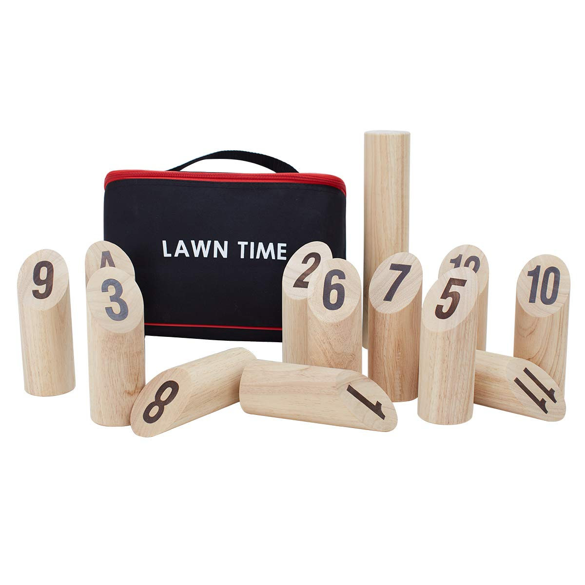 LAWN TIME Viking Bowling - Molkky - Rubberwood Viking Kubb with Carrying Bag