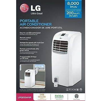 lg dehumidifier. lg lp0815wnr portable air conditioner, 115v cooling only \u0026amp; dehumidifier w/remote - lg t