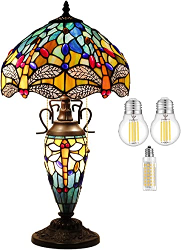 Tiffany Style Table Lamp W12H22 Inch 3LED BULB Inclued Sea Blue Yellow Stained Glass Dragonfly Shade Nightstand Desk Light Base S128 WERFACTORY LAMPS Lover Friend Living Room Bedroom Art Crafts Gift