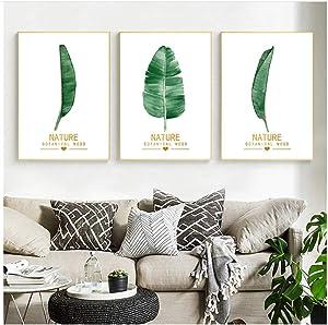 "Canvas Painting Banana Leaf Print Nordic Fresh Poster Home Decor Wall Minimalist for Living Room Backdrop Decor-19.6""x 27.5""(50x70cm) x3 No Frame"