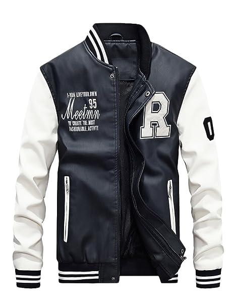 Vogstyle Uomo/Signori/Ragazzi PU Pelle College Baseball Jacket Felpa  Motociclista Giacca Giubbotto Bianca