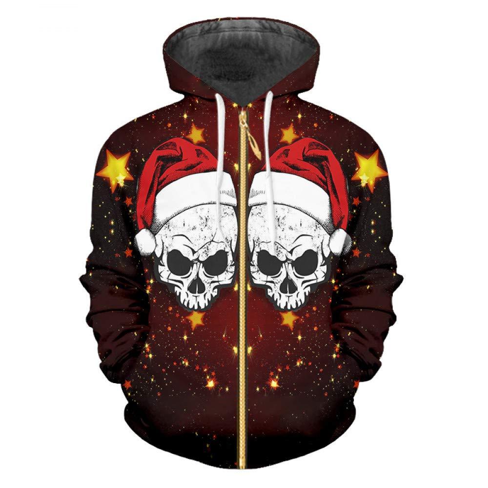 Christmas Hat M Ai Ya-weiyi Hommes's Christmas Hat 3D Motif Imprimé étoile Jaune Et drôle Skull Man La Nouvelle Inscription Zip sweat à capuches VêteHommests