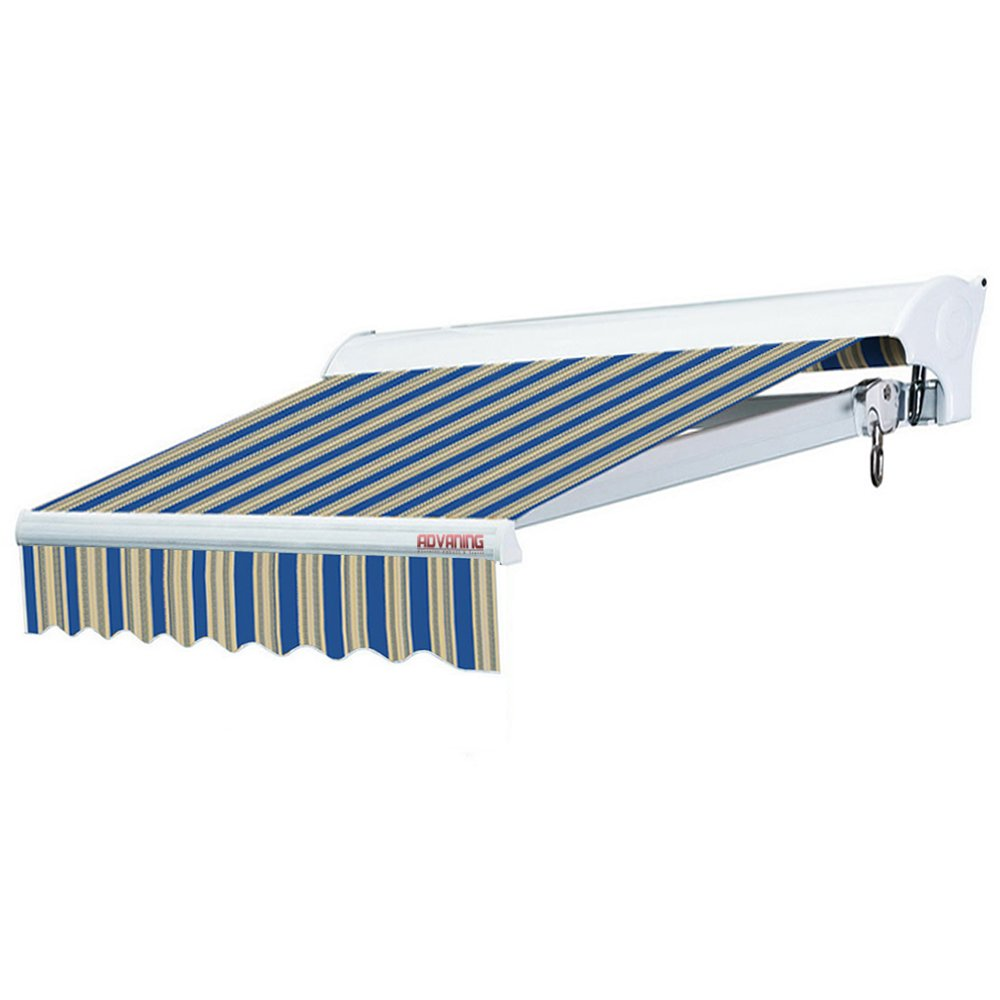 ADVANING 12'x10' Manual Patio Retractable Awning | Luxury Series | Premium Quality, 100% Solution-Dyed European Acrylic UV Sun Shade, Color: Ocean Blue Stripes, MA1210-A447H2