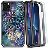 COOLQO Compatible for iPhone 11 Pro Max Case, 360 Full Body Coverage Hard PC+Soft Silicone TPU 3in1 Certified Military Shockproof Phone Protective with [2 x Tempered Glass Screen Protector]-Mandala