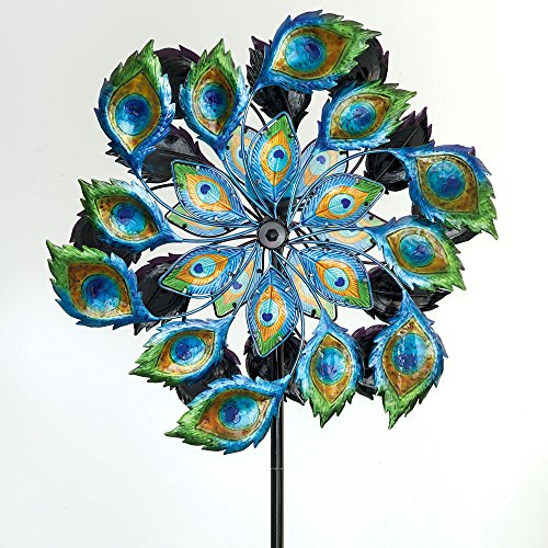 Bits and Pieces - Solar Peacock Wind Spinner - Decorative Solar Powered Kinetic Wind Mill: Glass Ball Emits Color-Changing Light - Unique Outdoor Lawn and Garden DÃcor, Lawn Ornament (Lawn Windmills Decorative)