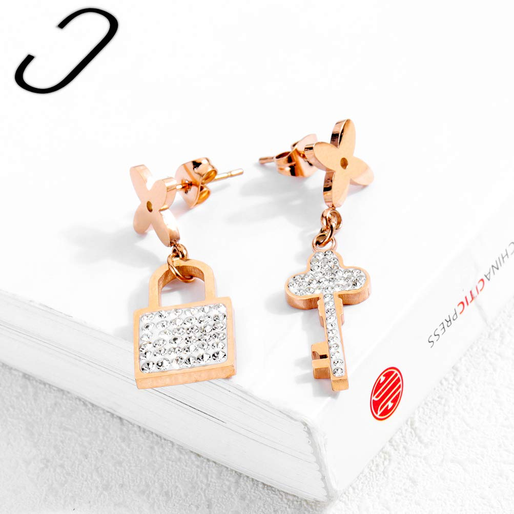 Wonlines Fashion Rose Gold Stainless Steel Crystal Lock Key Dangle Earrings