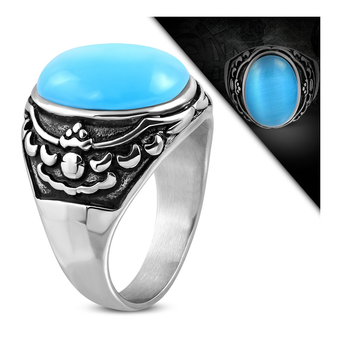 Stainless Steel 2 Color Eagle Wing Shank Bezel-set Oval Biker Ring with Cats Eyes Stone