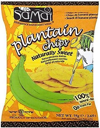 Samai - Chips de plátano dulces - 75 g - Pack de 4 unidades ...