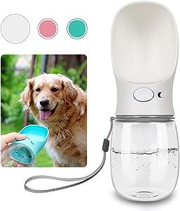 QQPETS Dog Water Bottle for Walking, Dispenser Pet Portable Dogs Cats 12OZ Travel Drink Bottle Bowls BPA Freee,Leak Proof,Food Grade