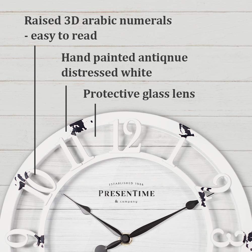 Raised 3D Arabic Numeral PresenTime /& Co 10 Farmhouse Series Wall Clock Antique Distressed White Shiplap Style