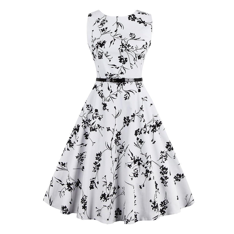 iPretty elegant Damen Sommerkleid ärmellos mit Gürtel Faltenrockkleid Retro Vintage Floral Party Cocktailkleider Abendkleider Knielang