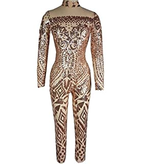 ff3e9544cf96 DuuoZy Women s Sexy See through Sequin Jumpsuit Retro Tattoo Printing Club  Cocktail Party Rompers Bodysuit